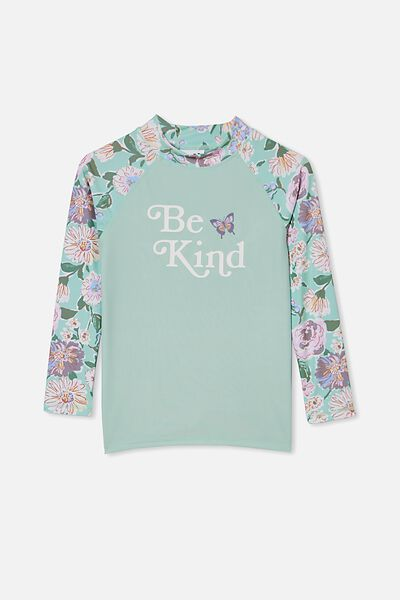 Hamilton Long Sleeve Rashie, DUCK EGG PAINTERLY FLORAL/BE KIND