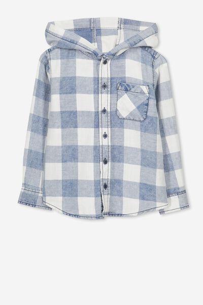 Harrison Hooded Long Sleeve Shirt, WASHED INDIGO CHECK