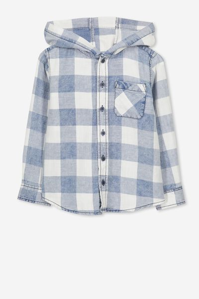 Harrison Hooded Long Sleeve Shirt, WASHED INDIGO CHECK