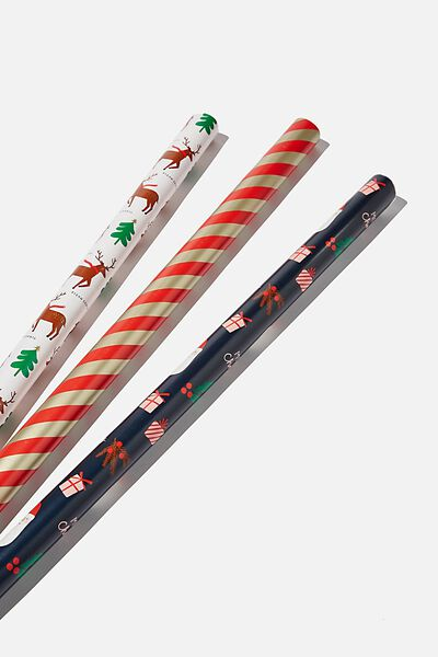 Kids Gift Wrap 3Pack, TEAM SANTA
