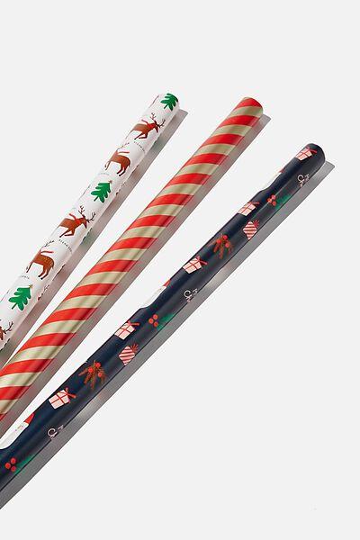 Kids Gift Wrap 3Pack, TEAM SANTA
