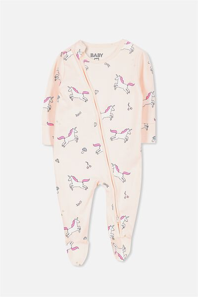 Mini Zip Through Romper, SHELL PEACH/UNICORN