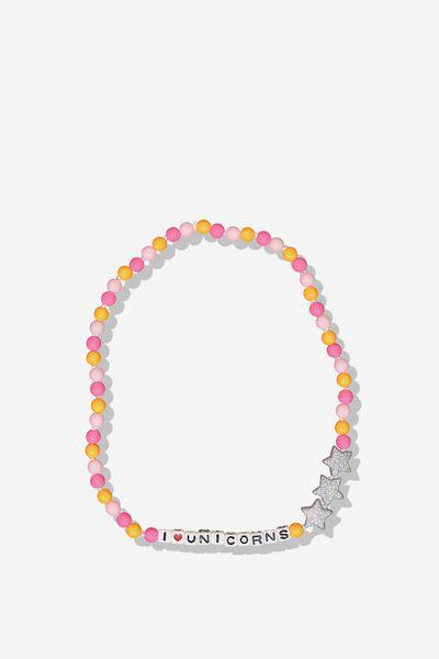 Mixed Beaded Necklace, MULTI COLOURED/I LOVE UNICORNS