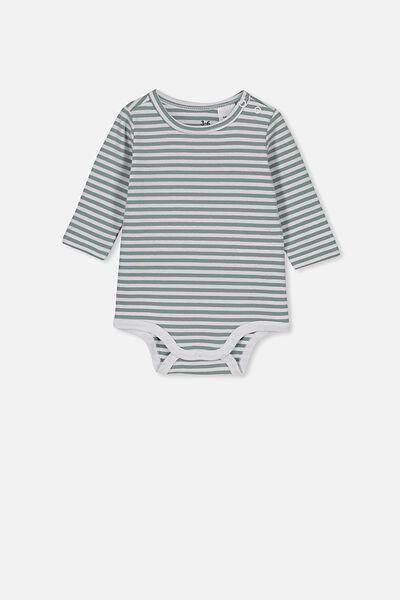 The Long Sleeve Bubbysuit, CHRIS STRIPE WHITE/STORMY SEA