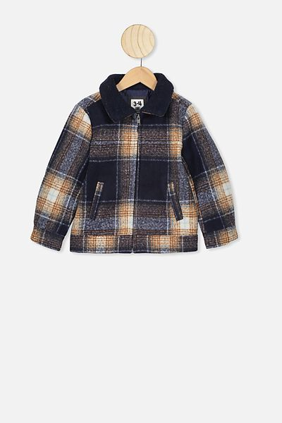 Trucker Jacket, NAVY/VANILLA CHECK