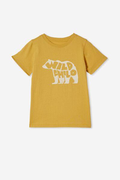 Max Short Sleeve Tee, HONEY GOLD/ WILD CHILD BEAR