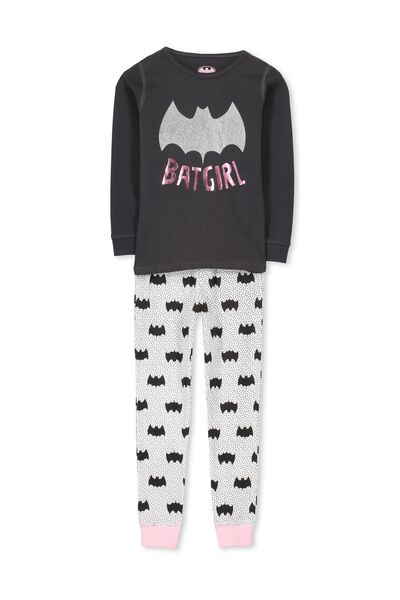 Kristen Long Sleeve Girls PJs, BATGIRL GLITTER PINK