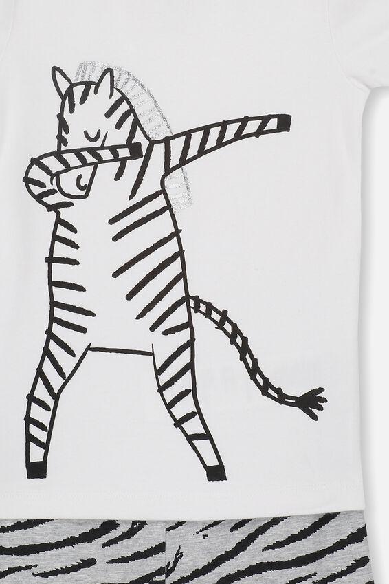 Ted Short Sleeve Pajama Set, DABBING ZEBRA