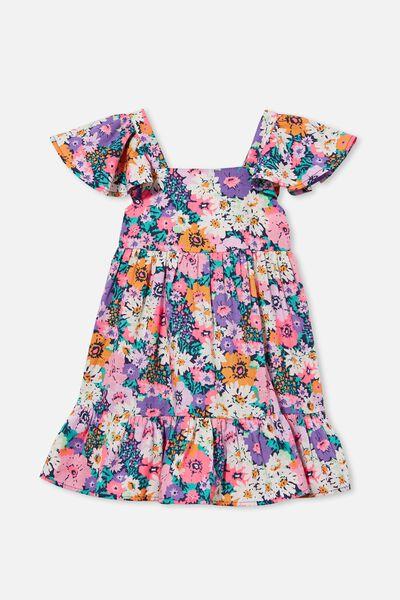 Cady Short Sleeve Dress, INDIGO/POP FLORAL