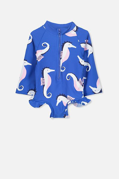 Malia Long Sleeve One Piece Swimsuit, PRINCESS BLUE/SEA HORSE