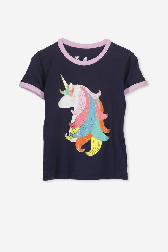 Rainbow Hair Unicorn Ringer Tee, PEACOAT/UNICORN HAIR/RINGER