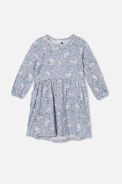 Savannah Long Sleeve Dress, DUSK BLUE/UNICORN GARDEN