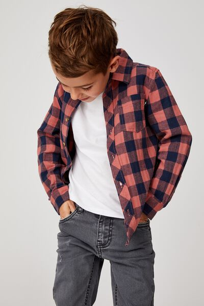Rugged Long Sleeve Shirt, CHUTNEY/NAVY BUFFALO CHECK