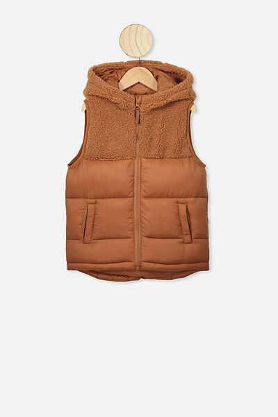 Billie Puffer Vest, AMBER BROWN/SPLICE