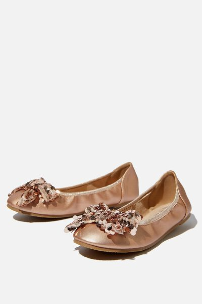 Primo Ballet Flat, METALLIC ROSE GOLD BOW