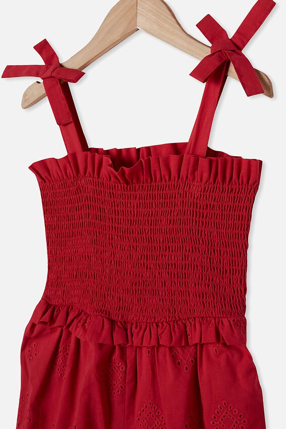 Imogen Shirred Jumpsuit, LUCKY RED