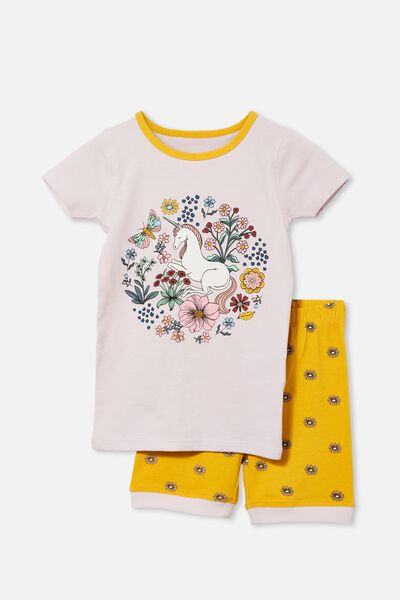 Nikki Short Sleeve Pyjama Set, FLORAL UNICORN LAVENDER FOG