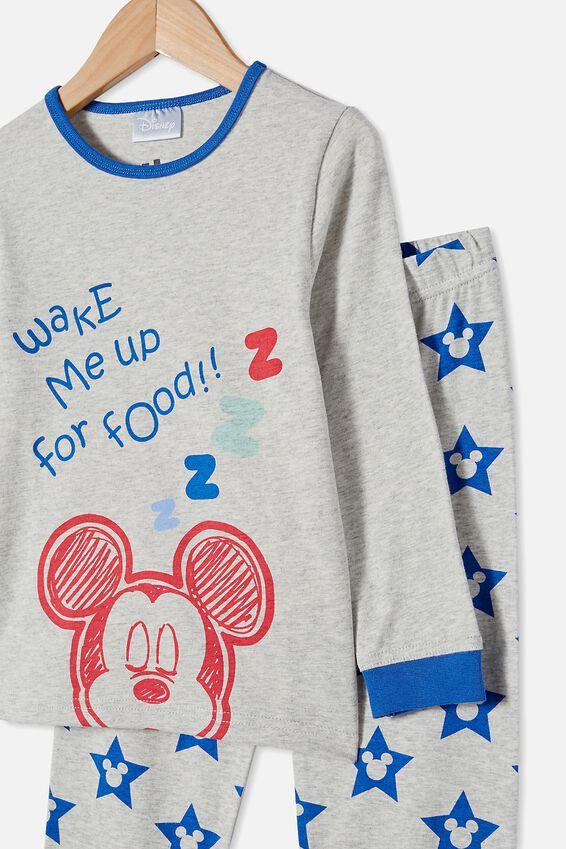 Orlando Long Sleeve Pyjama Set Licensed, LCN DIS MICKEY FOOD / SUMMER GREY MARLE