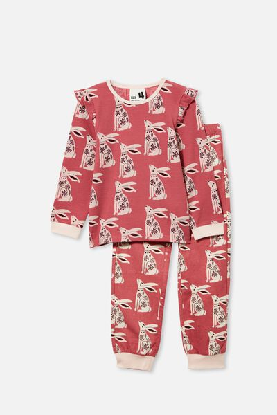 Edith Long Sleeve Pyjama Set, FOLK BUNNY/VERY BERRY