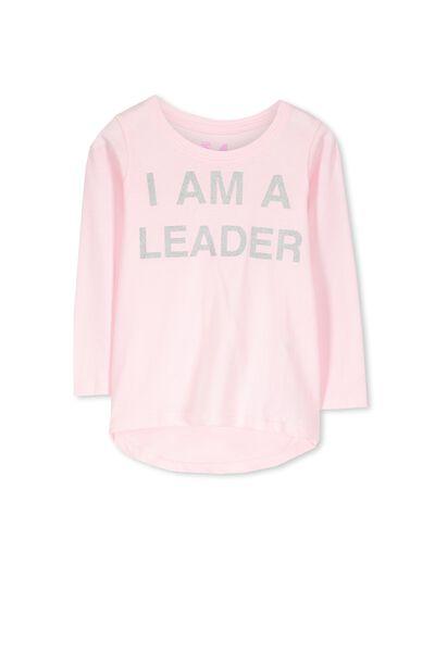Penelope Long Sleeve Curved Hem, PASTEL PINK/I AM A LEADER
