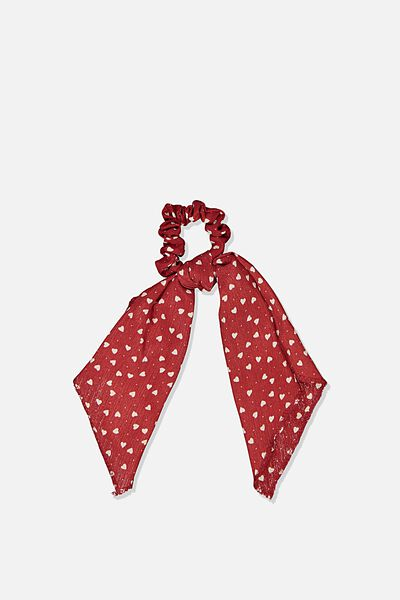 Scarf Scrunchie, RED HEARTS