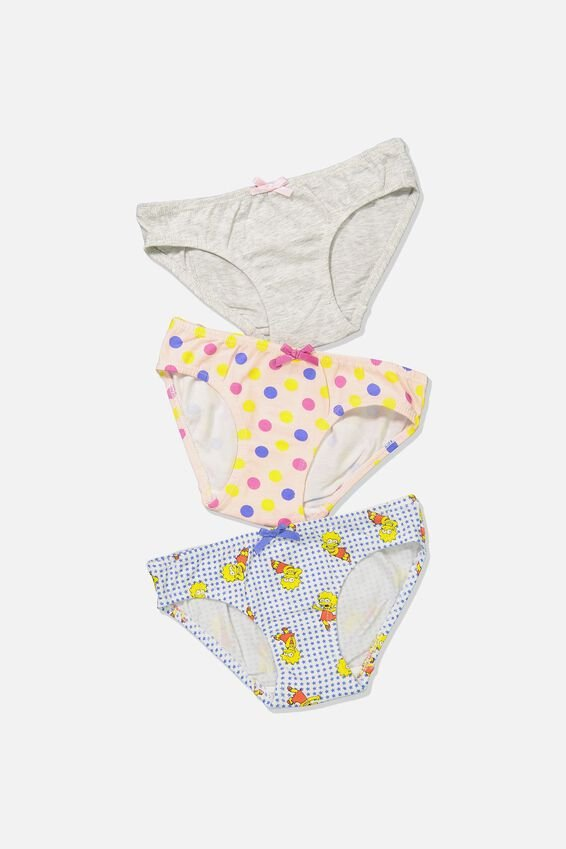 Girls 3Pk Licence Undies, LISA SIMPSON MIX