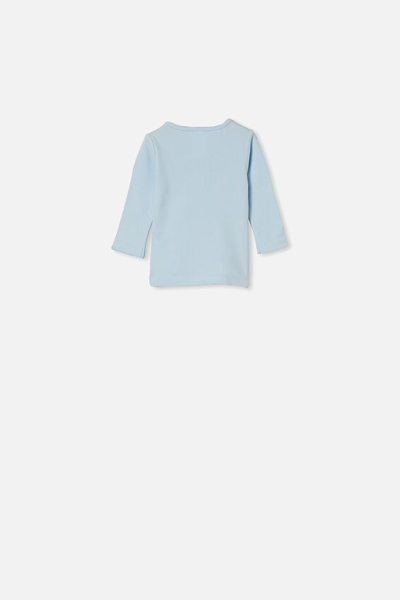 Aiden Long Sleeve Placket Top, FROSTY BLUE