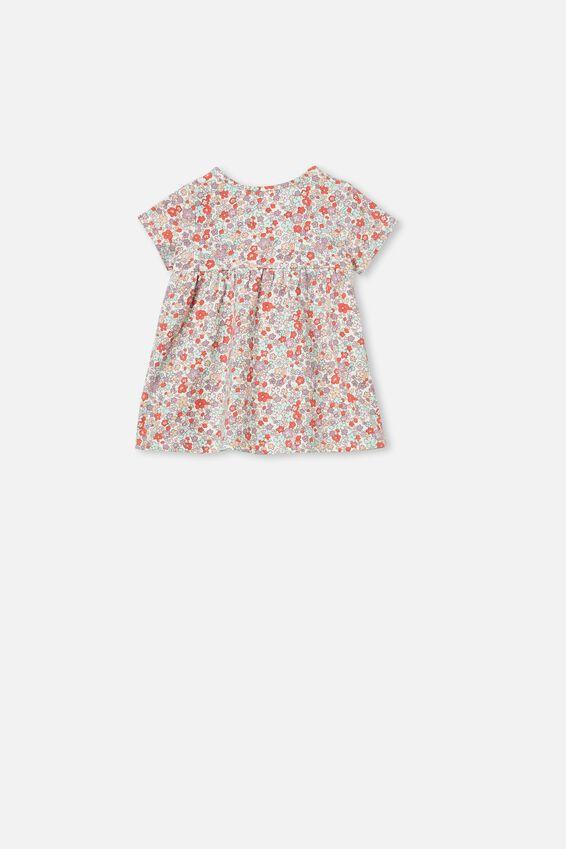 Milly Short Sleeve Dress, VANILLA/GARDEN FLORAL