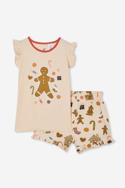 Stacey Short Sleeve Flutter Pyjama Set, GINGERBREAD XMAS/PEACH TANG