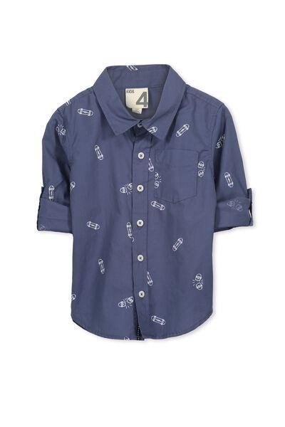 Noah Long Sleeve Shirt, DARK BLUE/SKATE