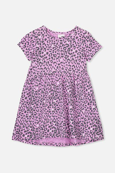 Freya Short Sleeve Dress, PURPLE PARADISE/LEOPARD