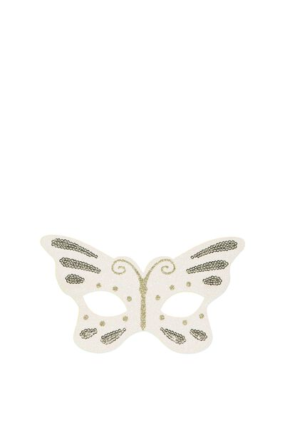 Glitzy Fun Mask, VANILLA BUTTERFLY