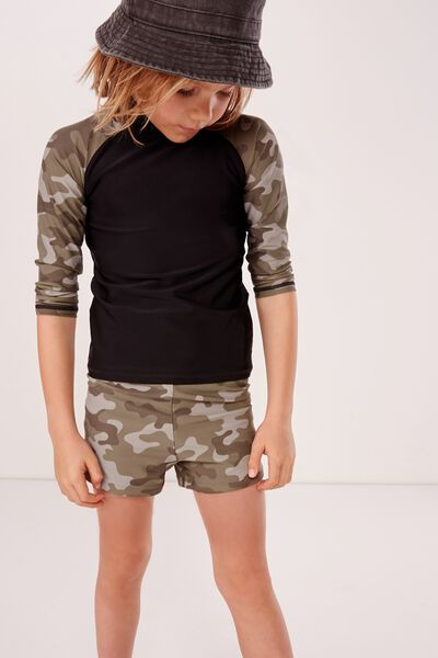Flynn Long Sleeve Rash Vest, BLACK CAMO