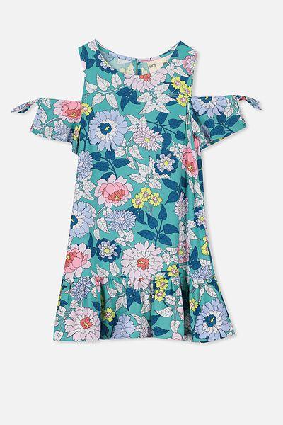 Ruby Cold Shoulder Dress, TURQUOISE/VINTAGE FLORAL
