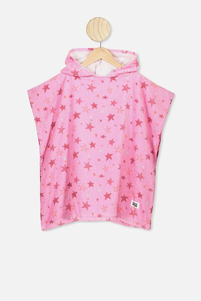 Kids Hooded Towel, PINK SKETCHY STARS