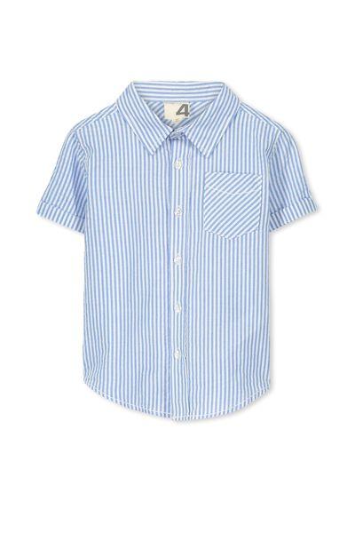 Jackson S/Slv Shirt, VANILLA STRIPE/SEERSUCKER BLUE