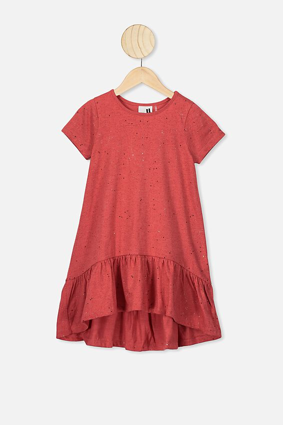 Joss Short Sleeve Dress, LUCKY RED MARLE/GALACTIC SPARKLE