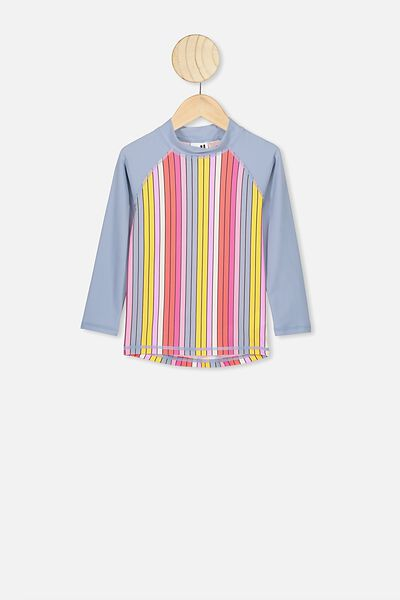 Hamilton Long Sleeve Rash Vest, DUSTY BLUE MULTI STRIPE