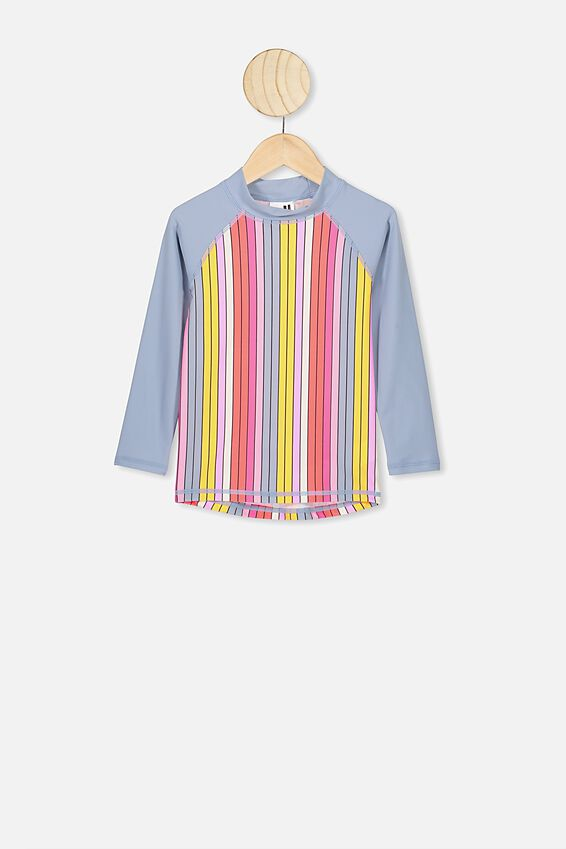 Hamilton Long Sleeve Rash Top, DUSTY BLUE MULTI STRIPE