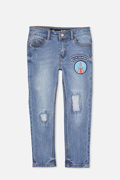 Marshall Slim Leg Jean, ABRAISED BLUE/BADGES