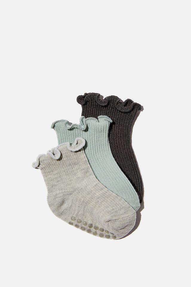 3Pk Baby Socks, FRILL GREY AQUA