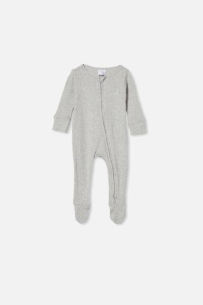Organic Newborn Zip Through Romper Personalised, CLOUD MARLE