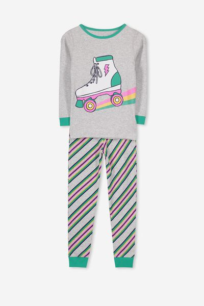 Alicia Long Sleeve Girls PJ Set, RAINBOW ROLLERSKATE