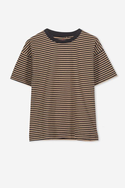 Max Loose Fit Tee, BX/CAPPUCCINO STRIPE