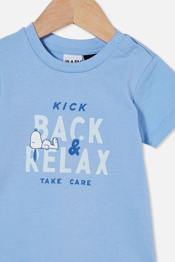 Snoopy Jamie Short Sleeve Tee, LCN PEA DUSK BLUE/SNOOPY KICK BACK & RELAX