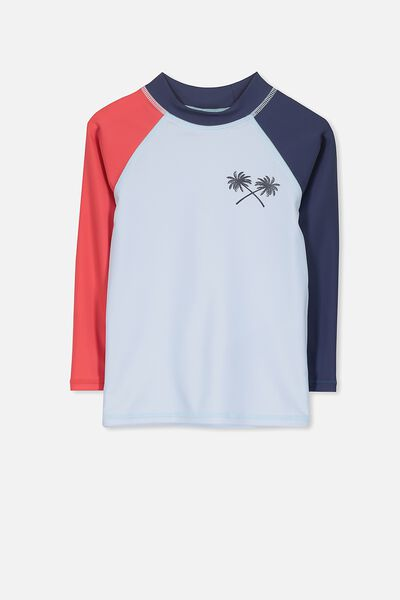 Fraser Long Sleeve Rash Vest, NAVY SPLICE/PALMS