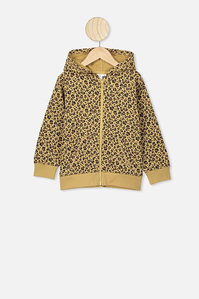 Sunny Zip Through Hoodie, SAND DUNE/SNOW LEOPARD