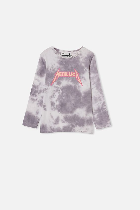 License Long Sleeve Tee, LCN PRO CUMULUS GREY TIE DYE/METALLICA