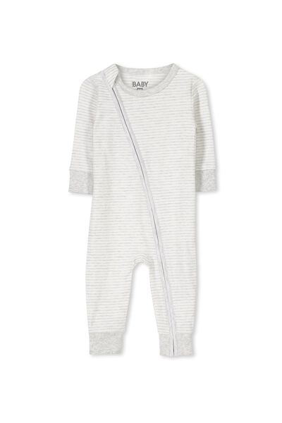 Mini Zip Footless One Piece, CLOUD MARLE/VANILLA STRIPE