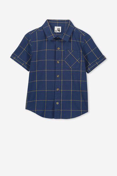 Resort Short Sleeve Shirt, NAVY WINDOW PANE CHECK